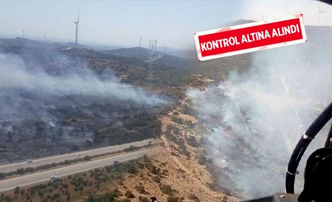 İzmir- Çeşme Otoyolu üzerinde yangın!