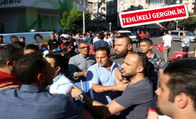 Miting öncesi partililer ve vatandaşlar birbirine girdi!