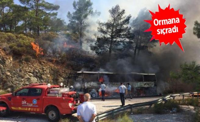 Seyir halindeki yolcu otobüsünde yangın!