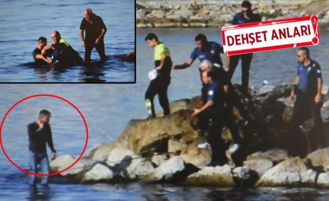 İki polis denize atlayıp elinden aldı...