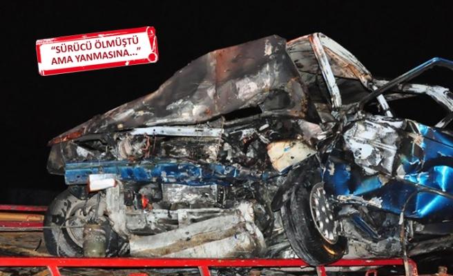 Feci kaza: Otomobil alev aldı
