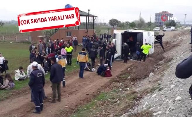 Denizli'de öğrencileri taşıyan tur otobüsü devrildi