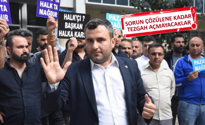 Gaziemir'de, pazarcılar eylem yaptı
