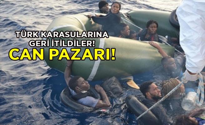 Türk karasularına geri itildiler! Can pazarı!