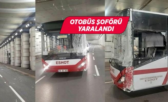 Belediye otobüsü alt geçitte beton sütunlara çarptı!