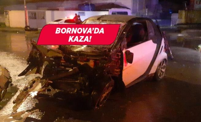 İzmir'de devrilen otomobilde bulunan 2 kişi yaralandı