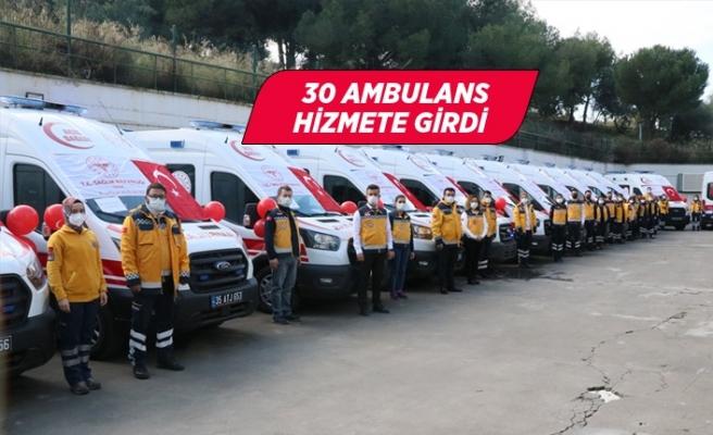 Sağlık Bakanlığınca İzmir'e gönderilen 30 ambulans hizmete alındı