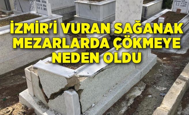 İzmir'i vuran sağanak mezarlarda çökmeye neden oldu