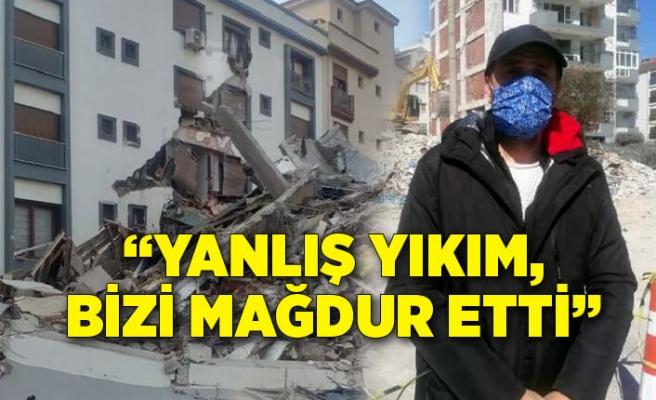 """Hasarlı binanın üzerine devrildiği apartmanda yaşayanlar; """"Yanlış yıkım, bizi mağdur etti"""""""