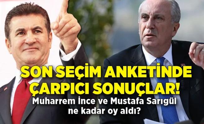 Son seçim anketinde çarpıcı sonuçlar! Muharrem İnce ve Mustafa Sarıgül ne kadar oy aldı?
