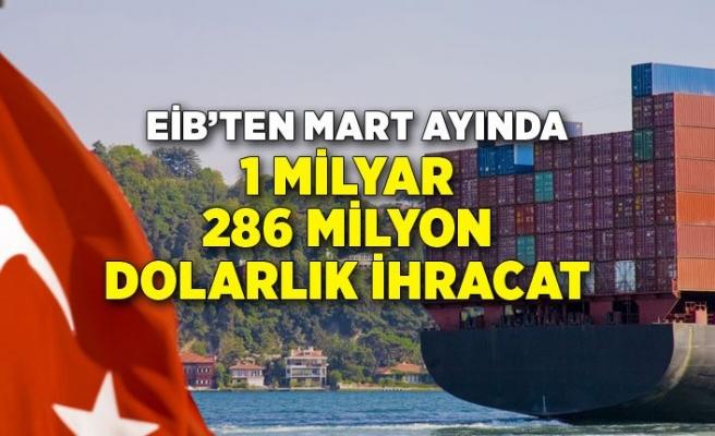 EİB'ten Mart ayında 1 milyar 286 milyon dolarlık ihracat