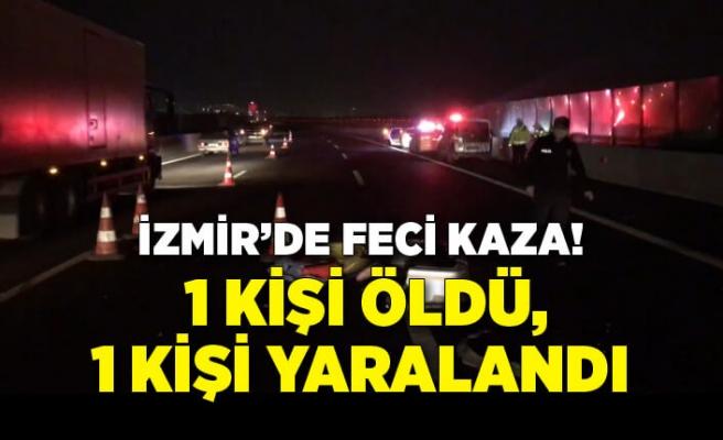 İzmir'de beton bariyere çarpan otomobildeki 1 kişi öldü, 1 kişi yaralandı