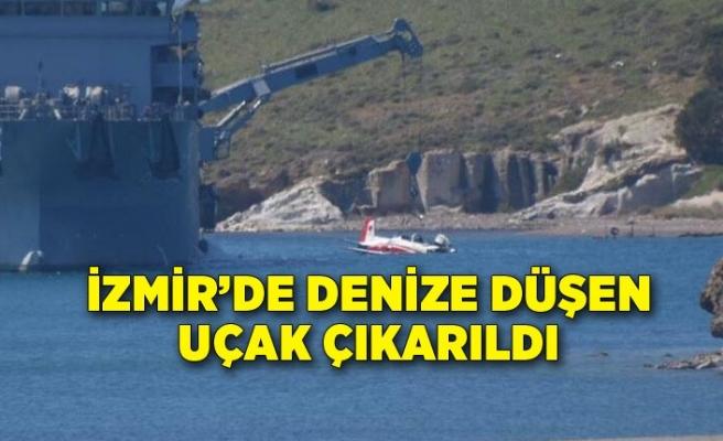 İzmir'de denize düşen uçak çıkarıldı