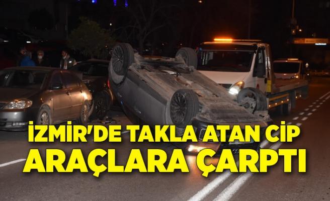 İzmir'de takla atan cip, park halindeki araçlara çarptı