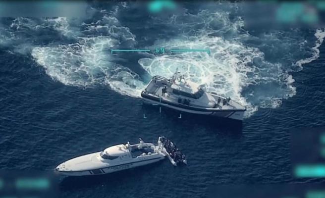 Yunan gemisine müdahale İHA ile görüntülendi