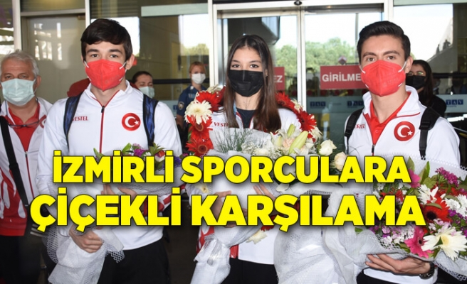 Avrupa ikincisi İzmirli cimnastikçi Sıla Karakuş'a çiçekli karşılama