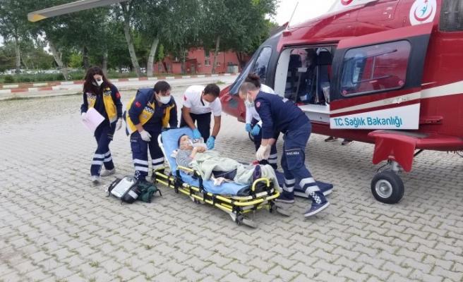 Ambulanshelikopter, kalp hastası için havalandı