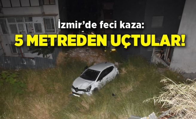 İzmir'de feci kaza: 5 metreden uçtular!