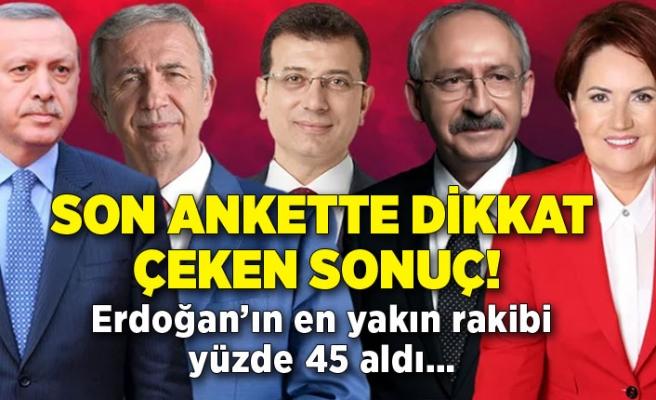 Son ankette dikkat çeken sonuç! Erdoğan'ın en yakın rakibi yüzde 45 aldı…