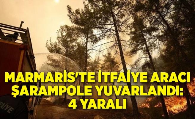 Marmaris'te itfaiye aracı şarampole yuvarlandı:4 yaralı