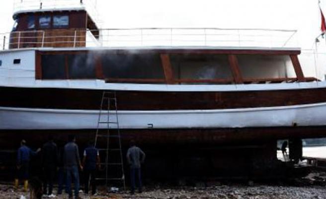 Bodrum'da Tekne Yangını