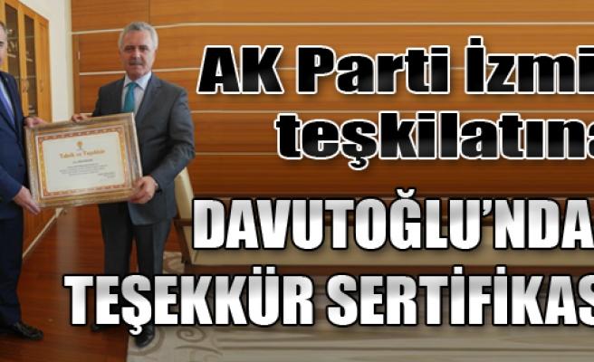 Davutoğlu'ndan Delican'a Teşekkür Sertifikası