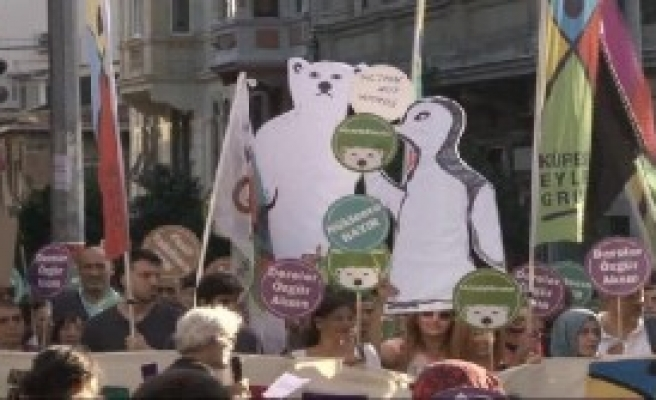 Beyoğlu'nda 'İklim Değişikliği Zirvesi' Yürüyüşü