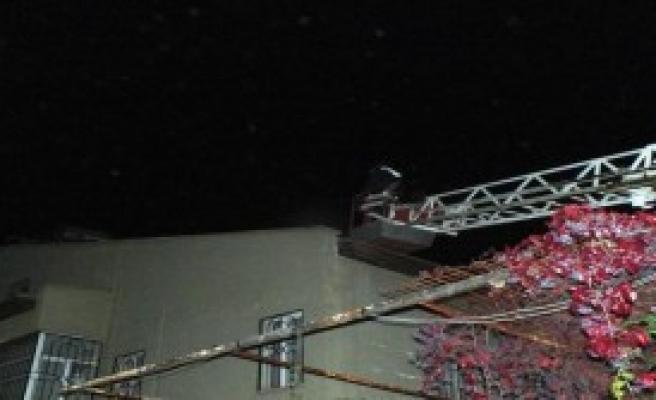 Çatıda Mahsur Kalan Kedi Kurtarıldı