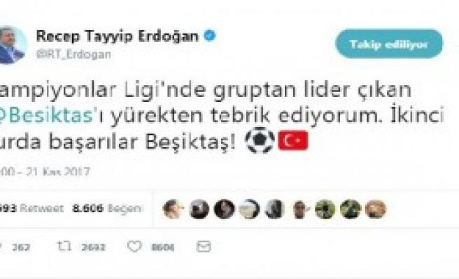 Erdoğan, Beşiktaş'ı Kutladı