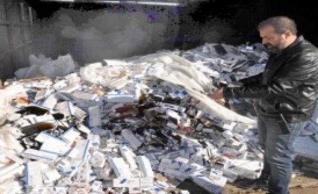 Kaçak 150 Bin Paket Sigara Yakılarak İmha Edildi