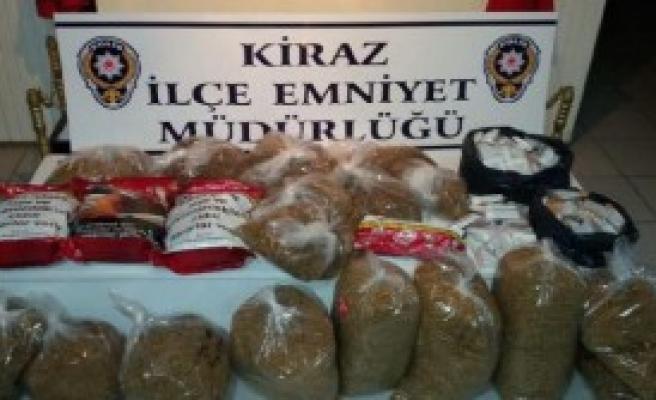 Kiraz'da Kaçak Tütün Ele Geçirildi