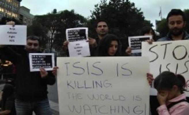 New York'ta Kobani'ye Destek Gösterisi