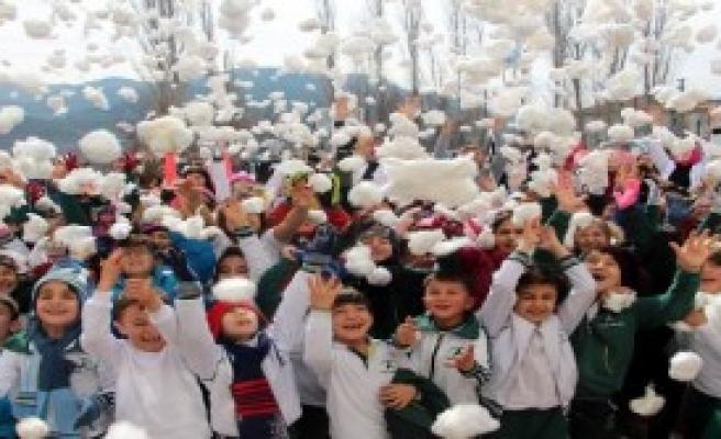 Pamuklarla Kar Topu Oynadılar