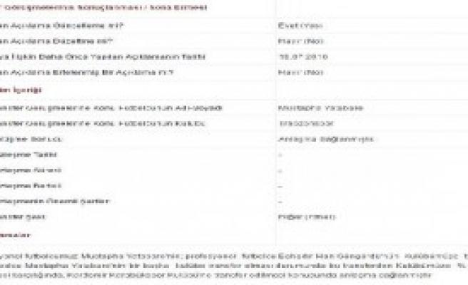 Trabzonspor'dan Yatabare Açıklaması