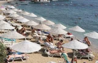 Bodrum plajlarına şemsiye ve şezlong standardı...