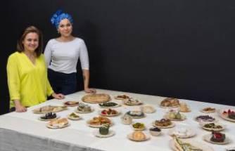 35 farklı yemekle tekstil malzemelerini birleştirdi
