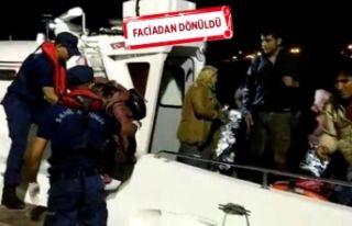 Botları su alan kaçaklar son anda kurtarıldı