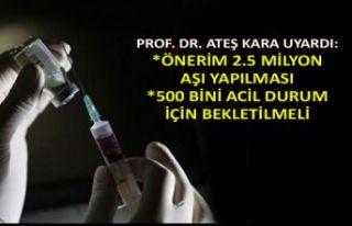 Prof. Dr. Ateş Kara: Önerim 2.5 milyon aşı yapılması
