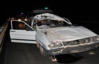 Otomobil İneğe Çarptı: 1 Ölü, 4 Yaralı