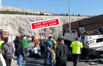 İzmir'de down sendromlu çocukları taşıyan minibüs devrildi!