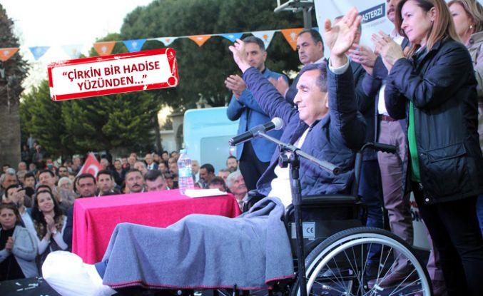 Alçılı ayak ve tekerlekli sandalyeyle miting
