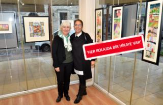 Foça'da kolaj resim sergisi