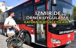İzmir'de örnek uygulama: Katlanır bisikletlerle...