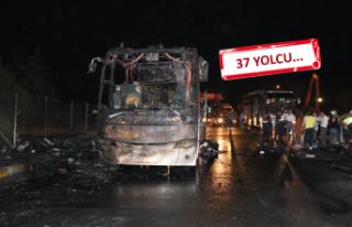 İzmir'de  yolcu otobüsünde yangın