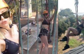 Simge Sağın, Maymun Parkı'nda adeta uçtu