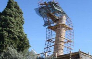 Minaredeki Külah Rüzgarda Yerinden Çıktı