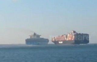 İki Dev Geminin Süveyş Kanalı'nda Çarpışma...
