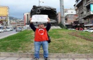 Zonguldak'ta Tek Kişilik Bayrak Eylemi