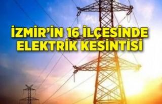15 Şubat Perşembe İzmir elektrik kesintisi