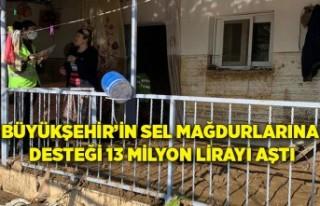 Büyükşehir'in sel mağdurlarına desteği 13...